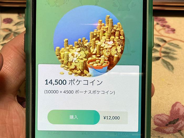 12,000円のポケコインを購入