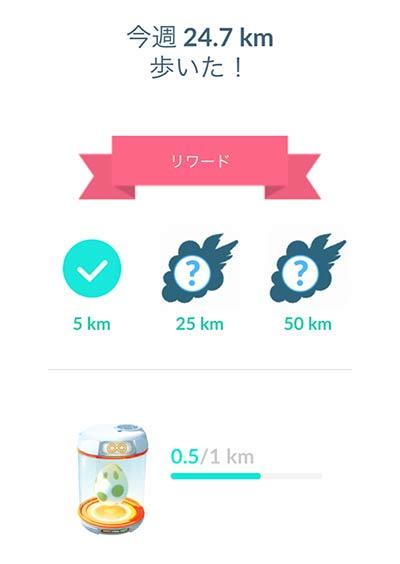 1週間に25キロ歩くリワードを8回貰う